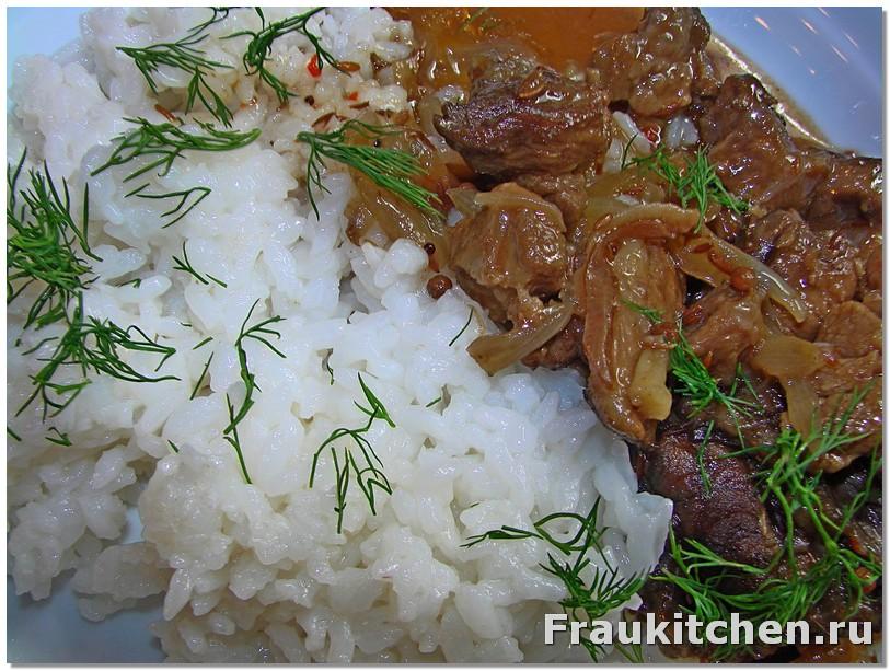 Баранина с соусом наршараб и рис на гарнир