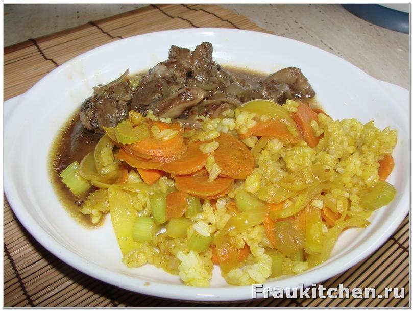 Рис, овощи и баранина
