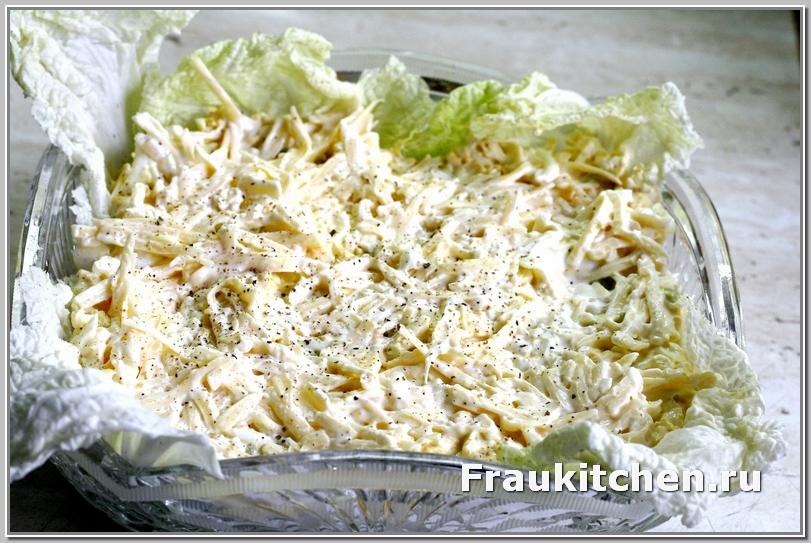 Чем острей сорт сыра- тем тоньше его слой в салате Тиффани