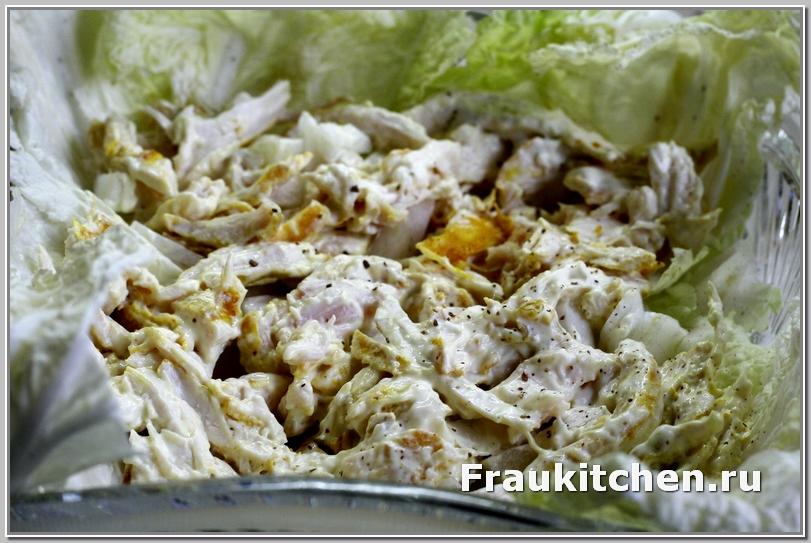 Первый слой салата Тиффани -курица