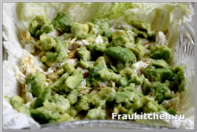 Слой авокадо в салате Тиффани