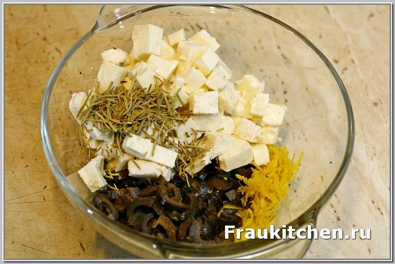 сыр, оливки, розмарин