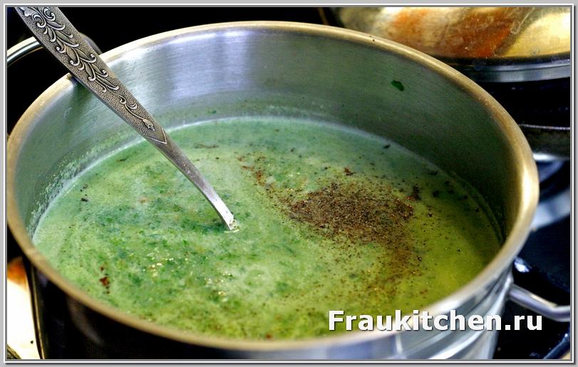 Приправы взбодрят диетический вкус супа пюре из шпината