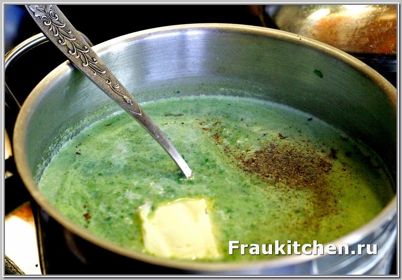 Суп пюре без масла - шпинат на ветер