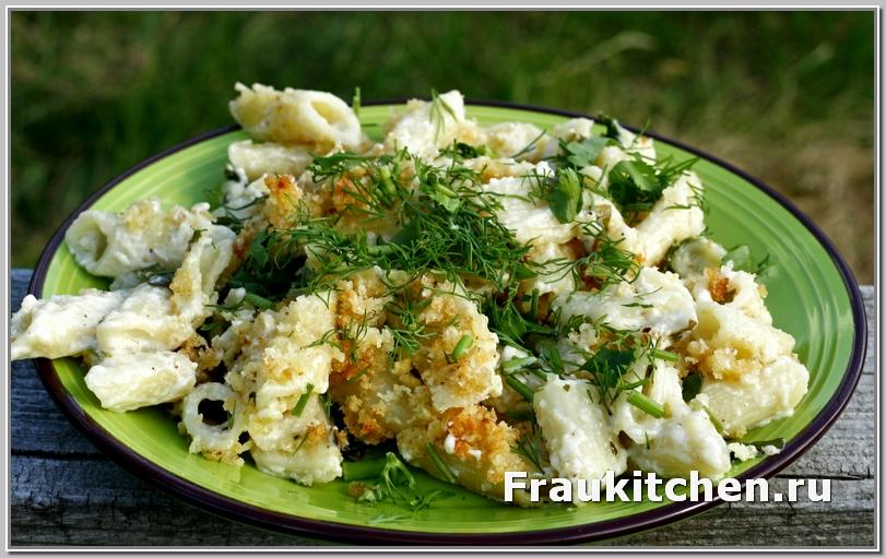 запеченные макароны с сыром и шпинатом