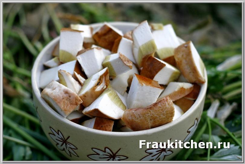 Белые грибы для супа нарезать кубиками