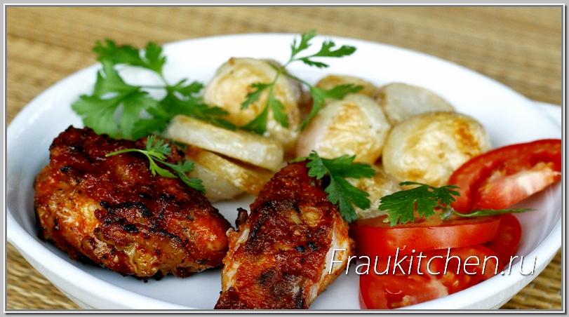С куриными ножками хорошо сочетатся любые овощи, приготовленные на гриле