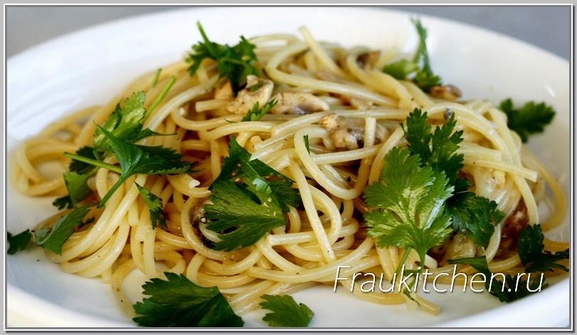 Спагетти с Беконом и Шампиньонами