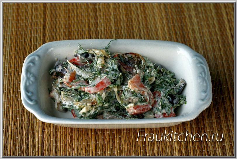 Закуска из баклажанов, перца и лука
