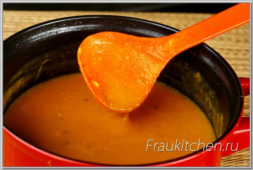 Получился кремообразный тыквенный суп