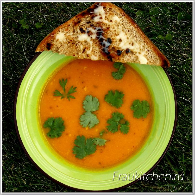 Суп-Пюре из Тыквы с Сыром и Гренками