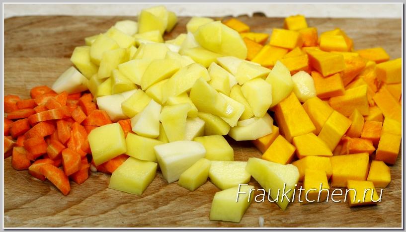 Кубики овощей должны быть не большие, но и не маленькие